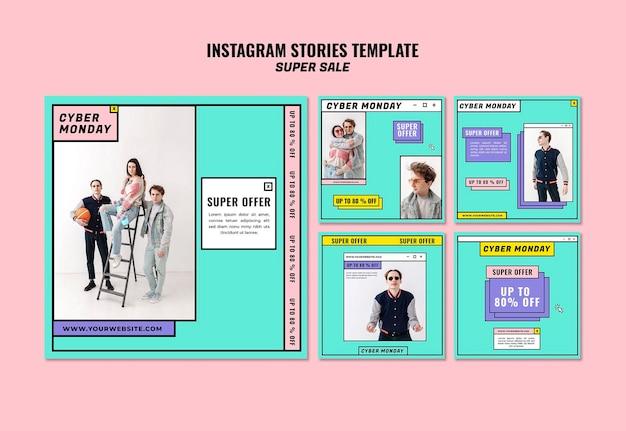 Cyber maandag concept instagram verhalen sjabloon