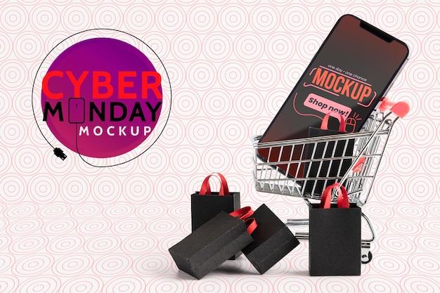 Cyber maandag concept met mock-up