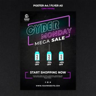 Cyber maandag concept poster sjabloon