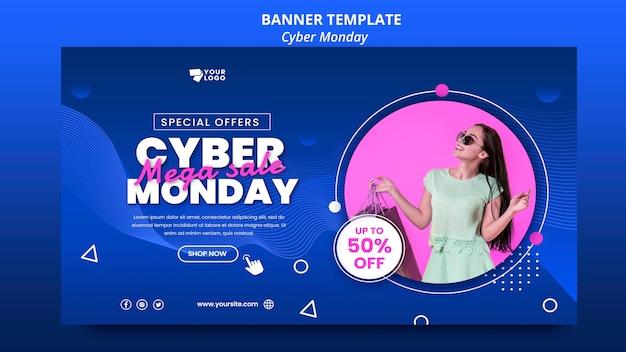 Cyber maandag horizontale banner