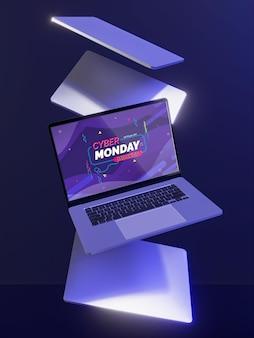 Cyber maandag te koop mock-up met futuristisch assortiment