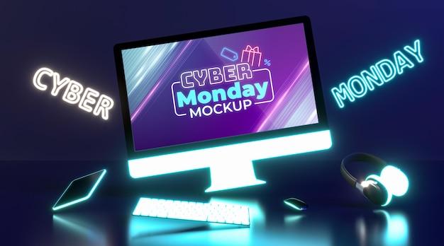 Cyber maandag te koop mock-up met futuristische compositie