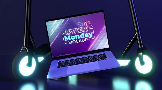 Cyber maandag te koop mock-up met futuristische regeling