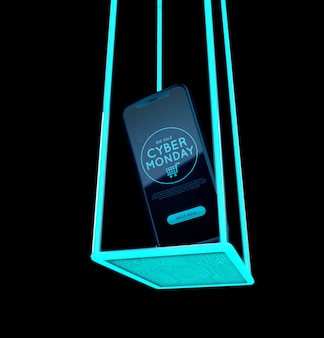 Cyber maandag telefoon abstract ontwerp
