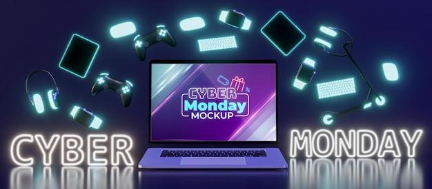 Cyber maandag verkoop arrangement mock-up