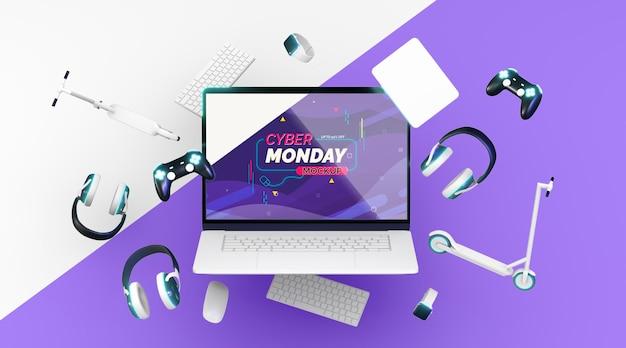 Cyber maandag verkoop assortiment mock-up