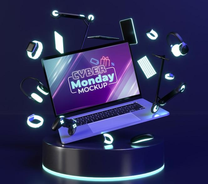 Cyber maandag-verkoopregeling met laptopmodel