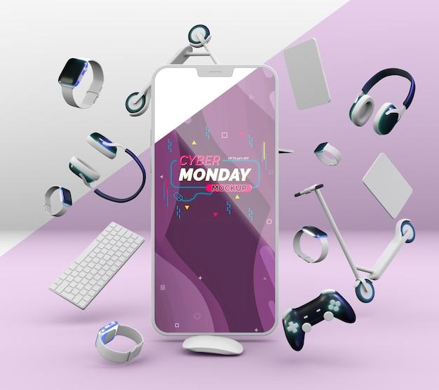 Cyber maandag verkoopregeling met mock-up voor mobiele telefoons