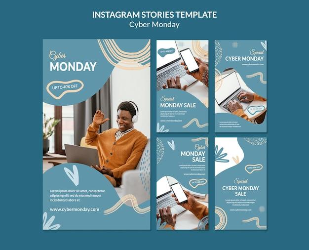 Cyber monday-pakket met sociale media-verhalen