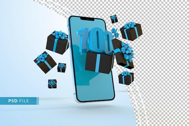 Cyber monday sale 100 procent korting op digitale promo met smartphone en geschenkverpakkingen