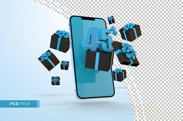 Cyber monday sale 45 procent korting op digitale promo met smartphone en geschenkverpakkingen Premium Psd