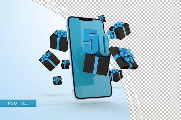 Cyber monday sale 50 procent korting op digitale promo met smartphone en geschenkverpakkingen