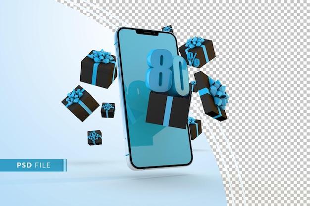Cyber monday sale 80 procent korting op digitale promo met smartphone en geschenkverpakkingen