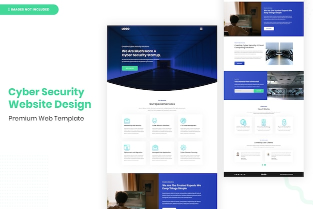 Cyber security website ontwerpsjabloon