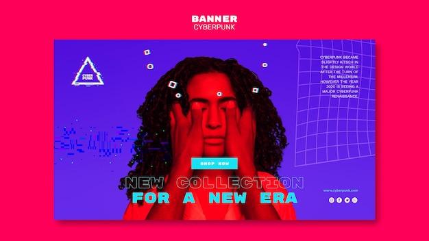 Cyberpunk futuristische banner met foto