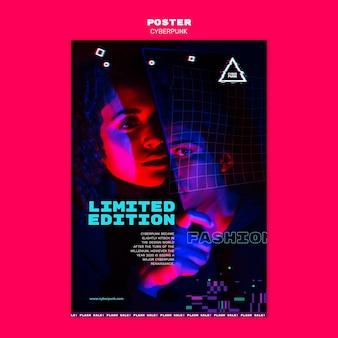 Cyberpunk futuristische poster sjabloon met foto