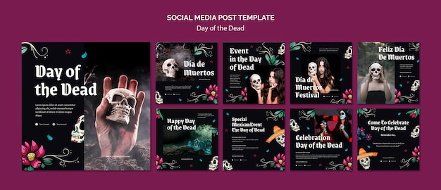 Dag van de dode postsjabloon voor sociale media