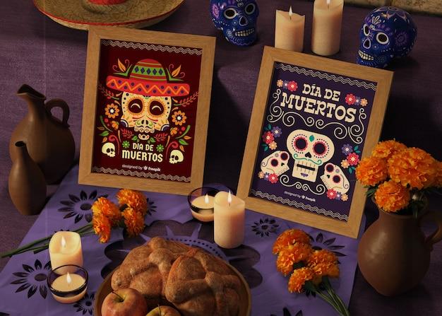 Dag van dode traditionele mexicaanse mock-ups met bloemen