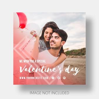 Dag van sociale sjabloon gelukkige valentijnsdag