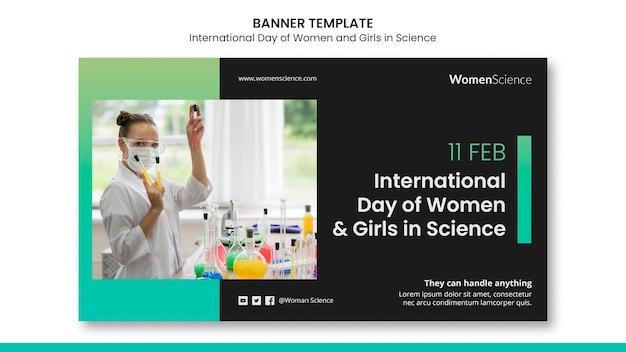 Dag van vrouwen en meisjes in de sjabloon voor spandoek van de wetenschap