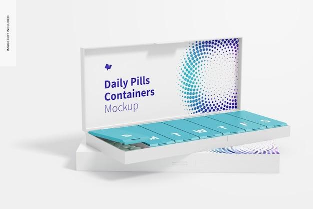 Dagelijkse pillencontainers mockup, perspectief