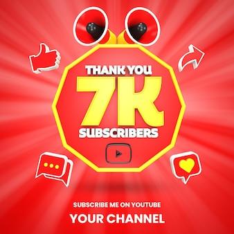 Dank u 7k youtube abonnees viering 3d render geïsoleerd