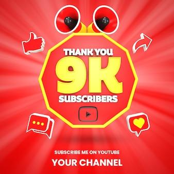 Dank u 9k youtube abonnees viering 3d render geïsoleerd