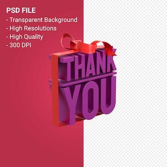 Dank u met boog en lint 3d-ontwerp geïsoleerd