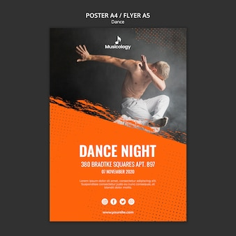 Dans nacht musicologie poster sjabloon
