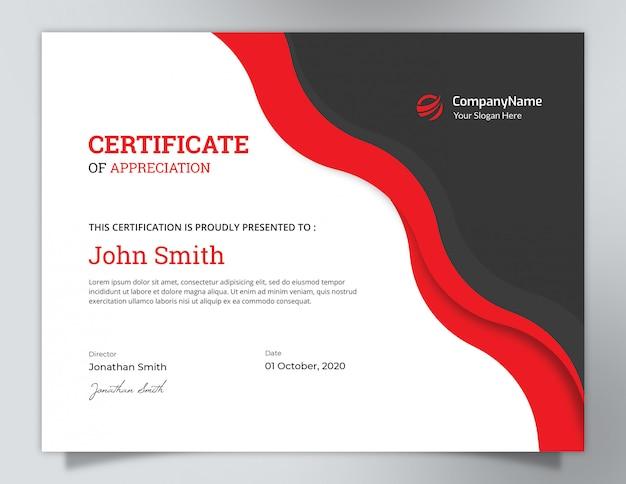 Dark black & red waves certificate design