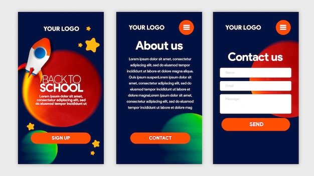 Dark blue template app terug naar schoolruimte met raket, sterren en planeten