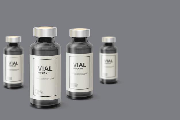 Dark glass medicine vial mockup