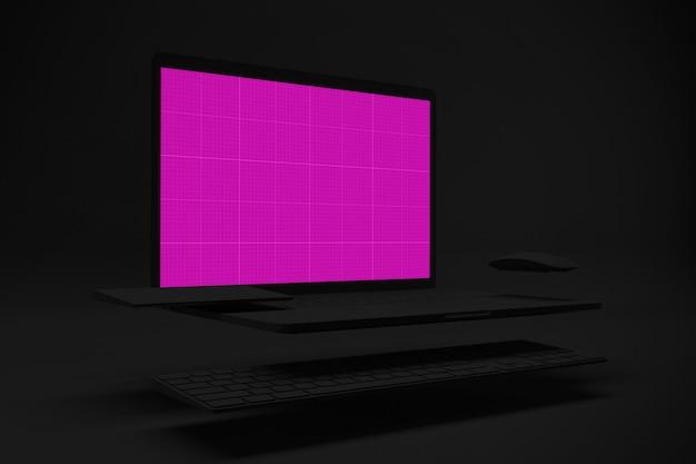 Dark laptop mockup