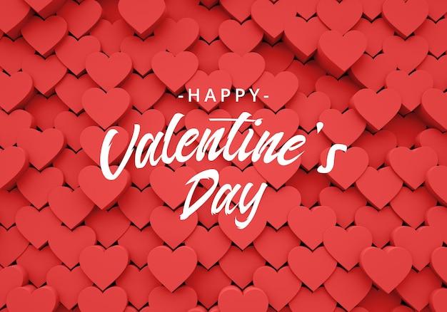 De achtergrond van valentijnskaarten met 3d hartenliefde