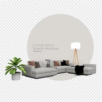 De bank en de lamp van de maker van de scène dichtbij het ontwerp van de potplantdecoratie