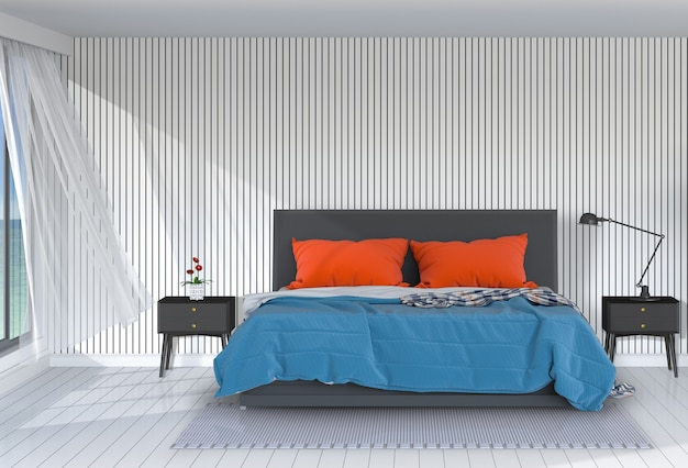 De binnenlandse moderne 3d slaapkamer geeft terug