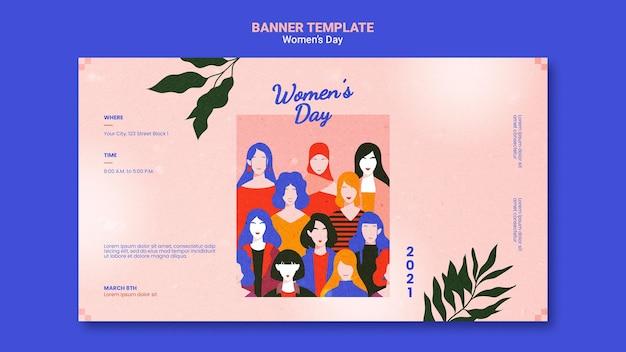 De dag horizontale banner van mooie vrouwen geïllustreerd