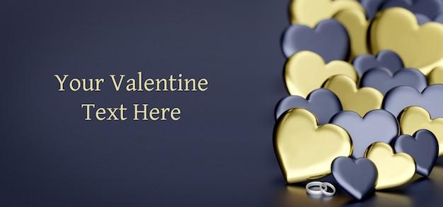 De dagachtergrond van valentine met hart - het 3d teruggeven