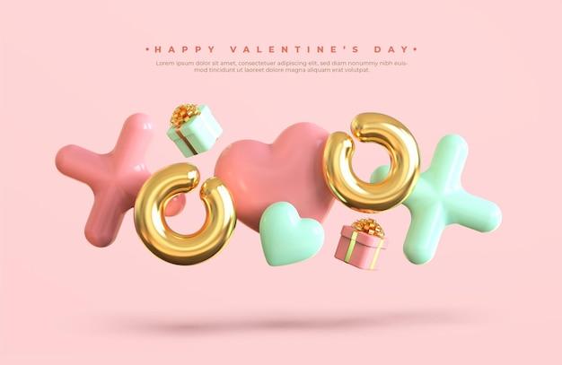 De dagbanner van de gelukkige valentijnskaart met 3d romantische creatieve samenstelling