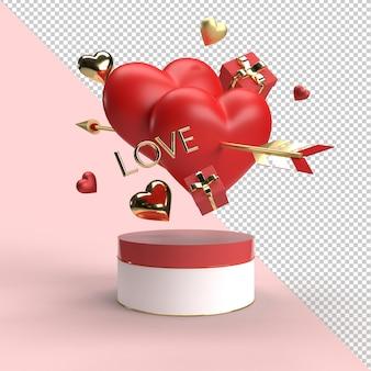 De dagsamenstelling van de gelukkige valentijnskaart in 3d-rendering
