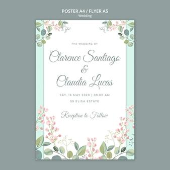 De datum bloemen bruiloft flyer sjabloon opslaan