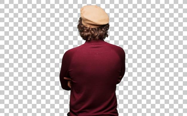 De franse kunstenaar met een baret stelt terug
