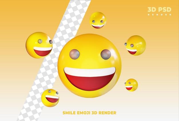 De gelukkige emoji met zeer gelukkige glimlach 3d geeft geïsoleerde pictogramkenteken terug Premium Psd