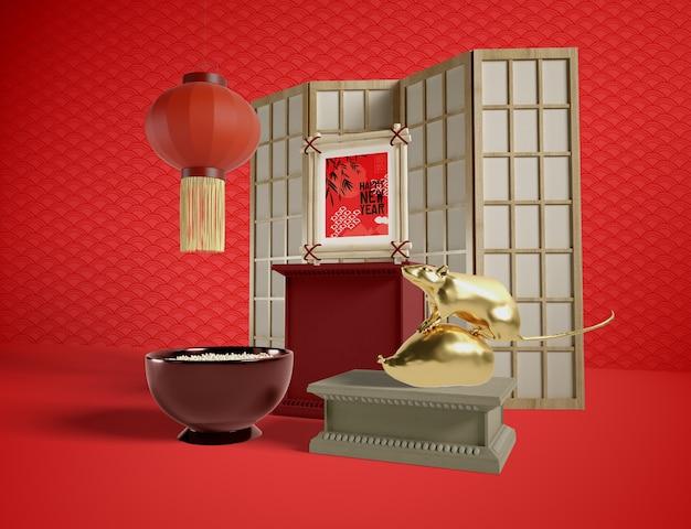 De gelukkige nieuwe chinese stijl van jaarelementen