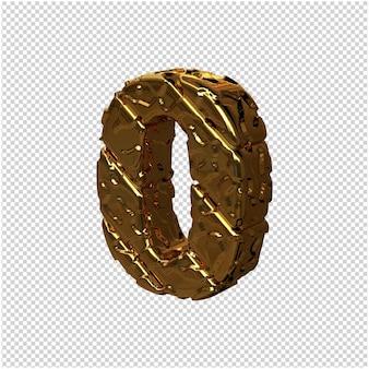 De gouden ongepolijste cijfers draaiden naar links. 3d-nummer 0