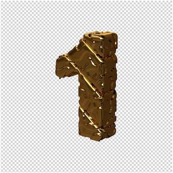 De gouden ongepolijste cijfers draaiden naar links. 3d-nummer 1