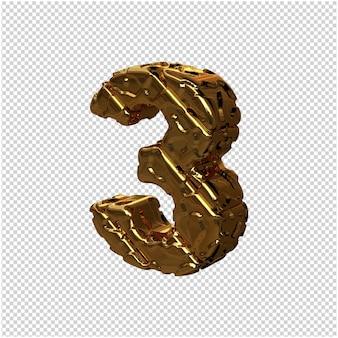 De gouden ongepolijste cijfers draaiden naar links. 3d-nummer 3