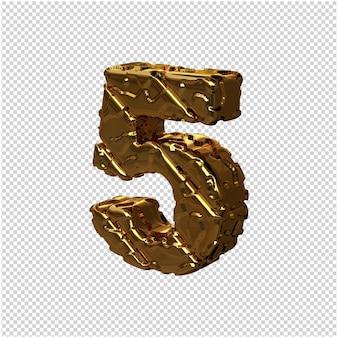 De gouden ongepolijste cijfers draaiden naar links. 3d-nummer 5