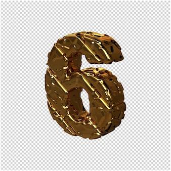 De gouden ongepolijste cijfers draaiden naar links. 3d-nummer 6