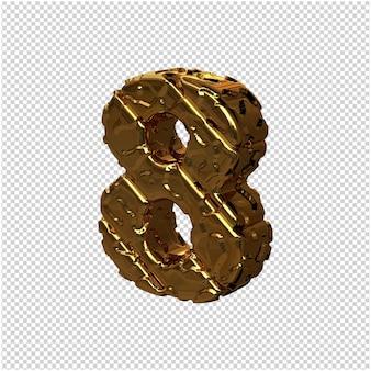 De gouden ongepolijste cijfers draaiden naar links. 3d-nummer 8